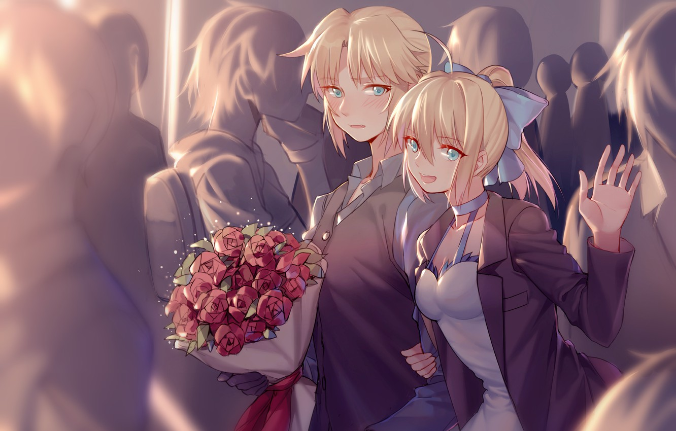 Photo wallpaper roses, bouquet, anime, art, two, saber, fate/stay night, fate/apocrypha, yorukun