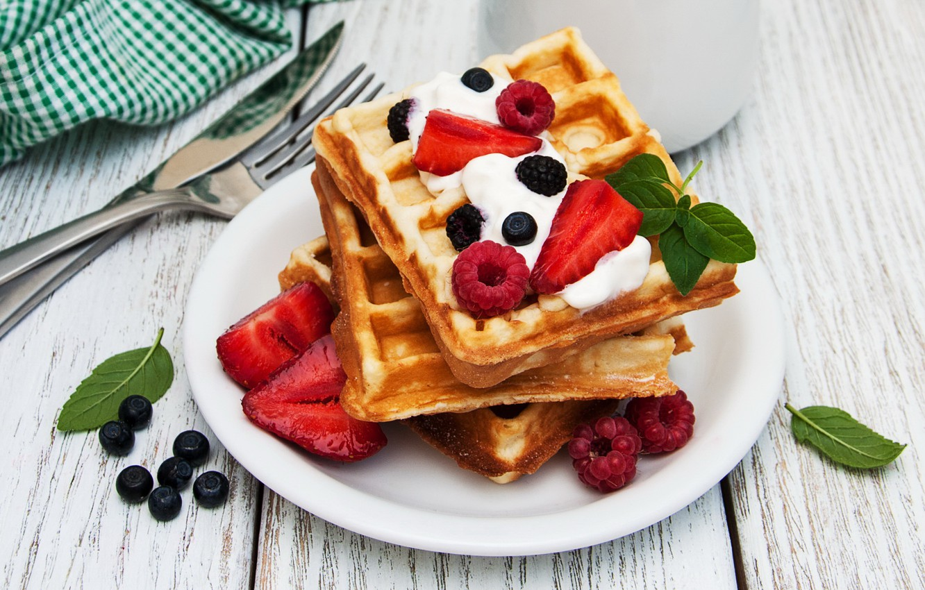 Photo wallpaper berries, raspberry, Breakfast, blueberries, strawberry, waffles, breakfast, fresh berries