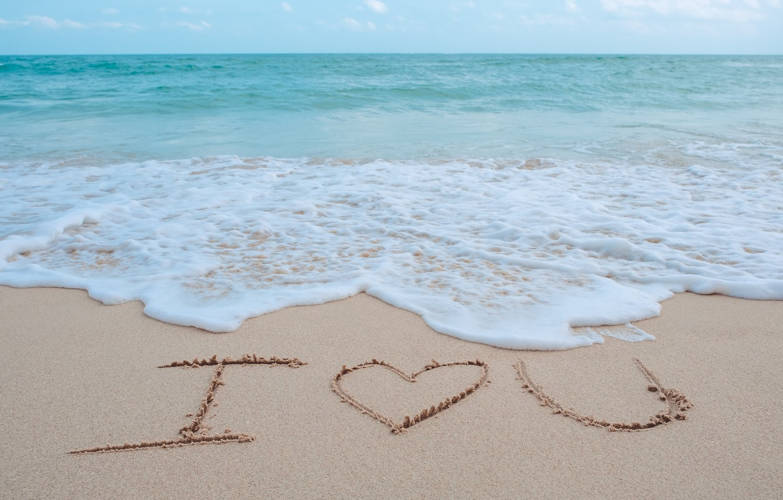 Photo wallpaper sand, sea, wave, beach, summer, love, summer, love, beach, sea, heart, romantic, sand, I love …