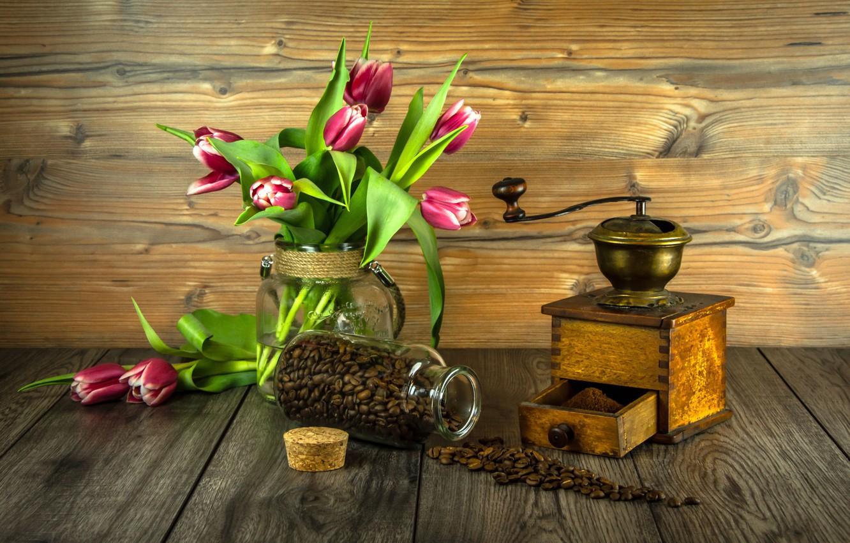 Photo wallpaper flowers, bouquet, tulips, wood, coffee beans, flowers, tulips, coffee, grains, coffee grinder, grinder