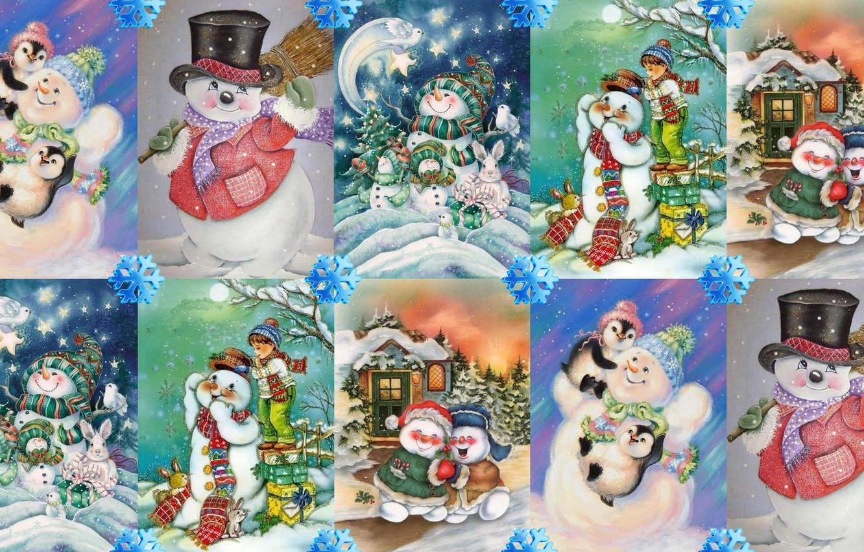 Photo wallpaper winter, mood, holiday, art, New year, snowman, snowflake, children's
