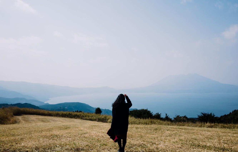Photo wallpaper field, the sky, girl, horizon