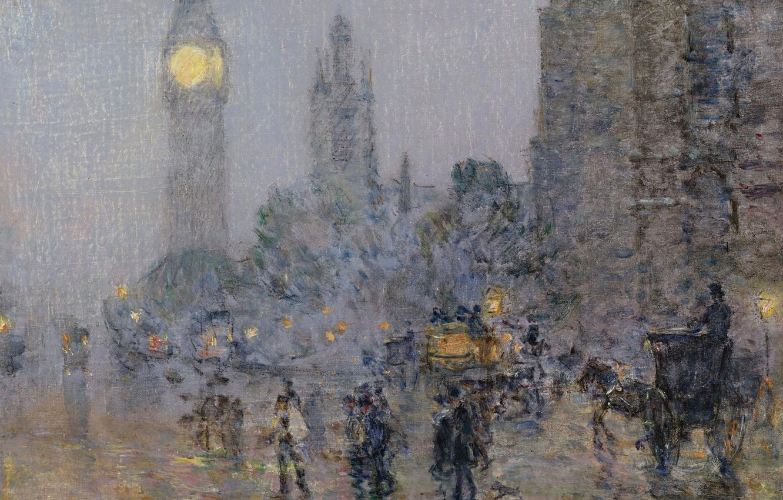 Photo wallpaper picture, the urban landscape, Frederick Childe Hassam, Childe Hassam, Nocturne. Big Ben