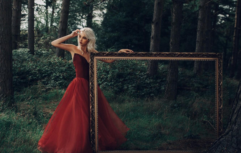 Photo wallpaper forest, girl, mood, frame, red dress