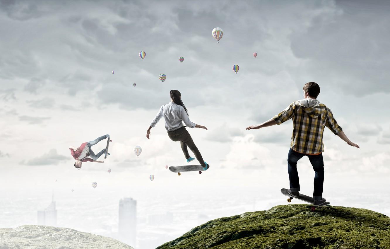 Photo wallpaper Girl, Sport, Jump, Men, Skateboard