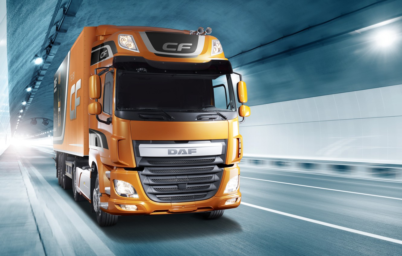Photo wallpaper light, orange, movement, the tunnel, DAF, tractor, DAF, Space Cab, the trailer, 4x2, Euro6, DAF …