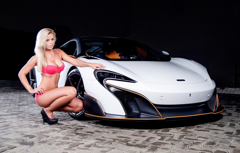 Photo wallpaper auto, look, McLaren, blonde, Erotic, beautiful girl, sitting on the machine