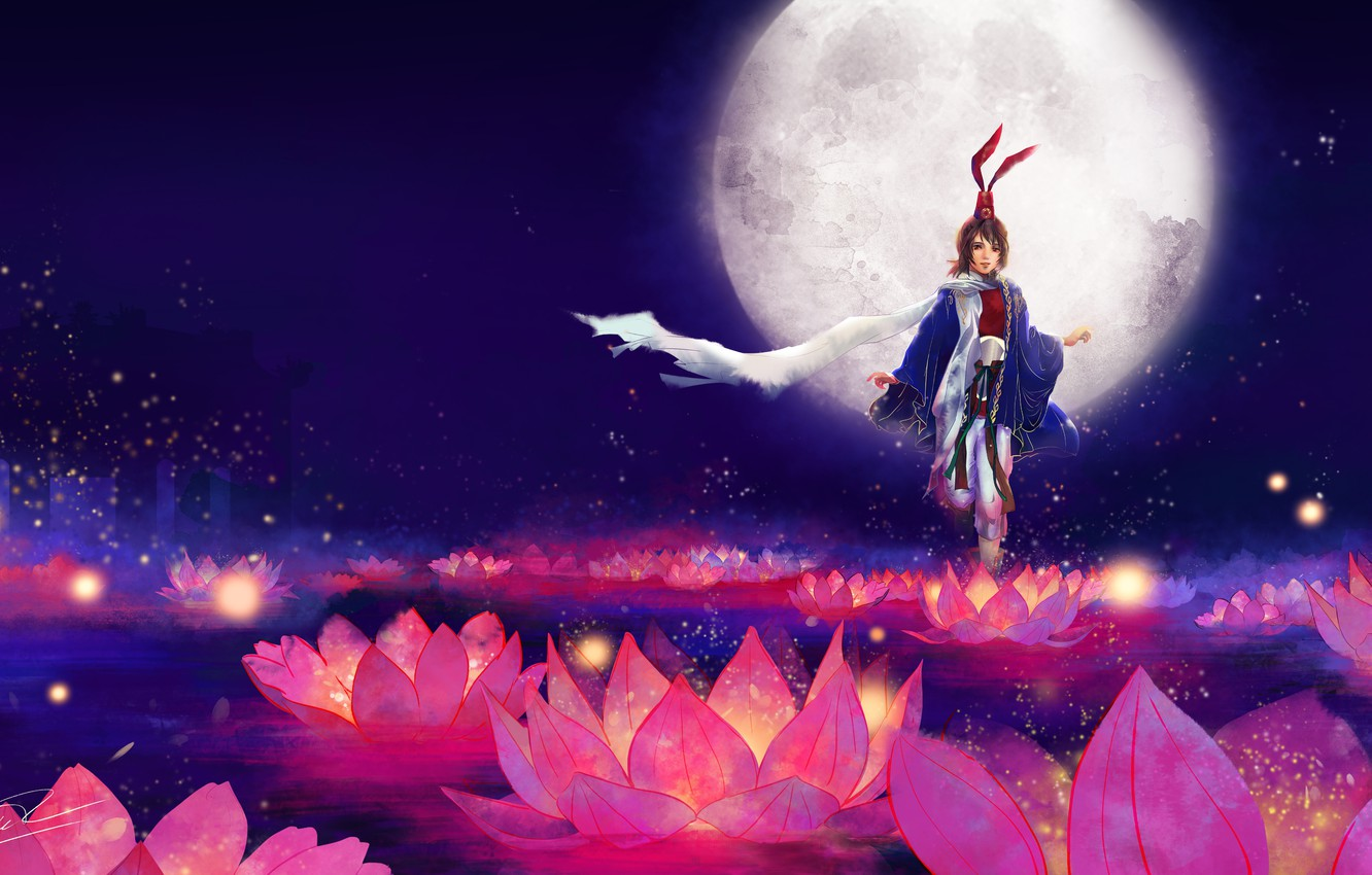 Photo wallpaper girl, flowers, background, the moon