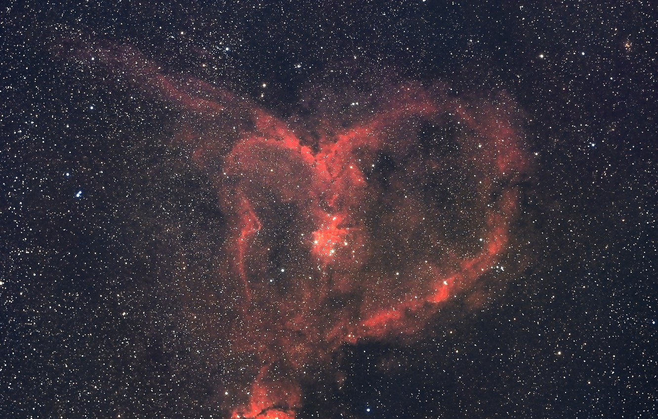 Photo wallpaper space, stars, IC 1805, The Heart Nebula