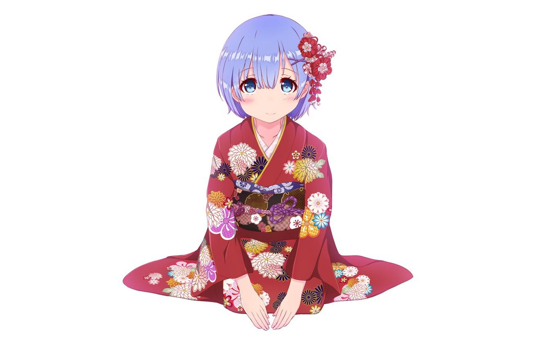 Photo wallpaper white, girl, background, kimono, yukata, anime, barrette, art, rem, re zero kara hajime chip isek …
