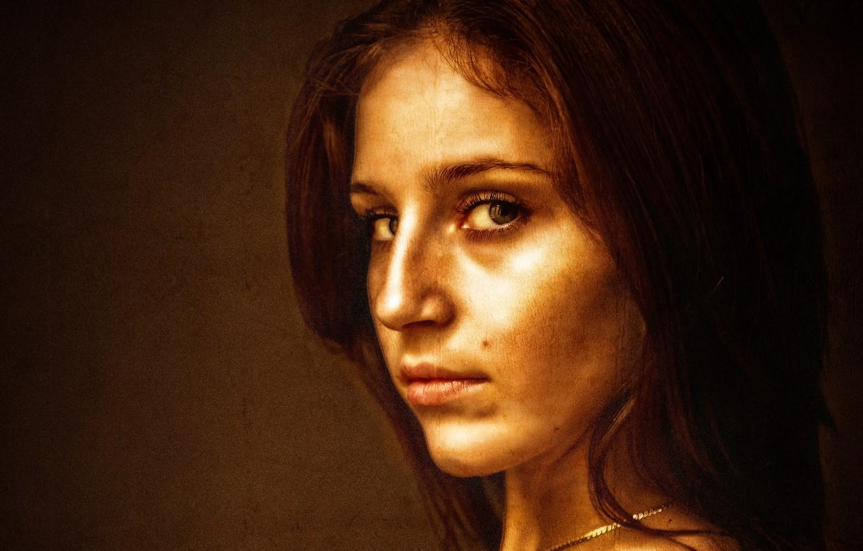 Photo wallpaper girl, brown, art, beauty, glance, canvas, Kide Fotoart