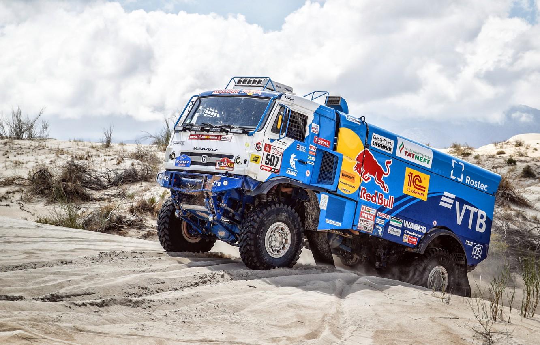 Photo wallpaper Sand, Sport, Machine, Truck, Race, Master, Russia, Kamaz, Rally, Dakar, KAMAZ-master, Dakar, Rally, KAMAZ, 507, …