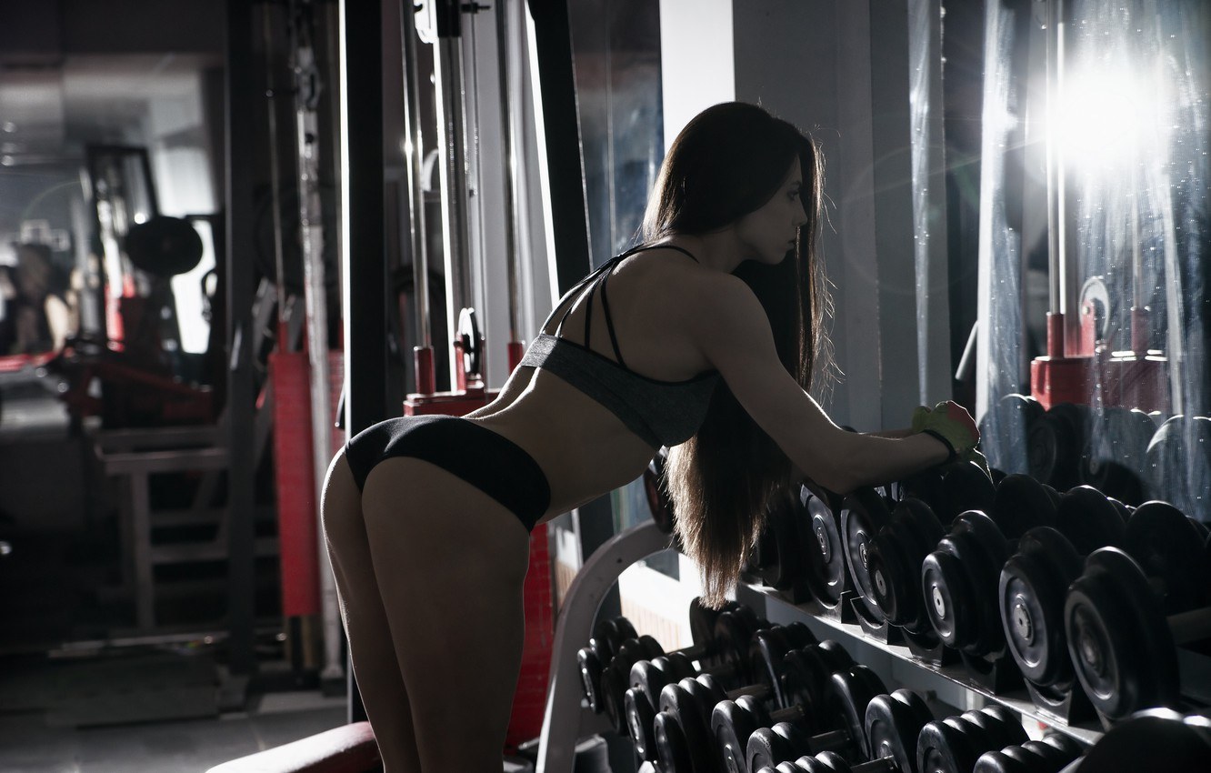 Photo wallpaper brunette, female, workout, fitness, gym