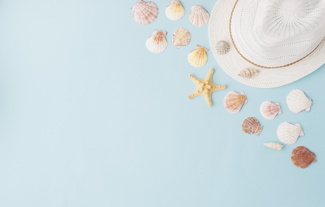 Photo wallpaper summer, background, hat, shell, summer, beach, marine, composition, seashells
