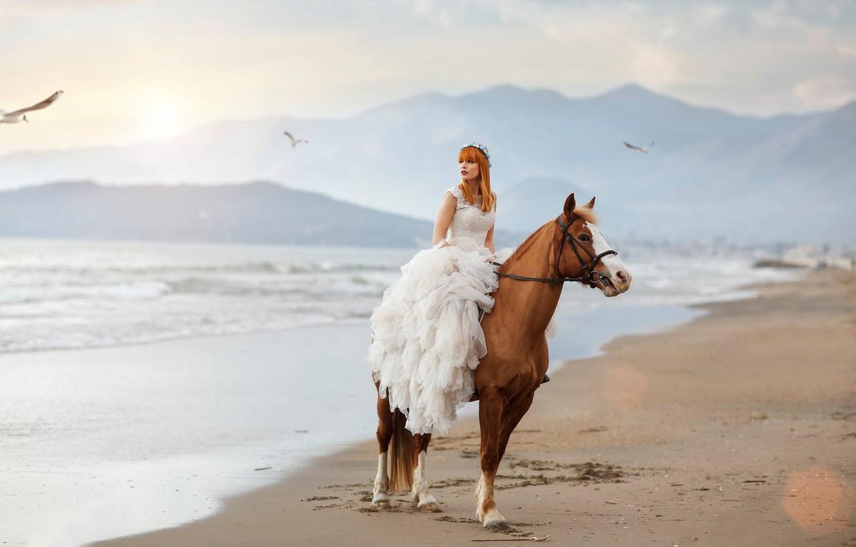 Photo wallpaper sea, girl, mood, horse, horse, seagulls, dress, Alessandro Di Cicco, Roberta Poccafassi
