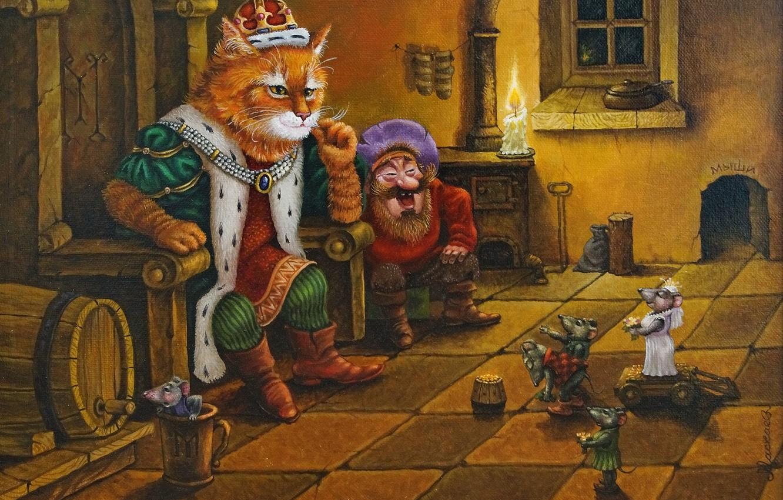 Photo wallpaper cat, figure, tale, art, children's, Tales of the cat Kuzma, Alexander Maskaev