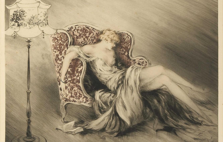 Photo wallpaper vintage, 1928, Louis Icart, Thinking