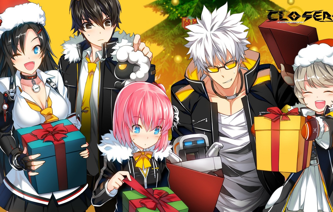 Photo wallpaper girls, tree, art, gifts, Anime, guys, yellow background, action, MMO, slasher, Closers