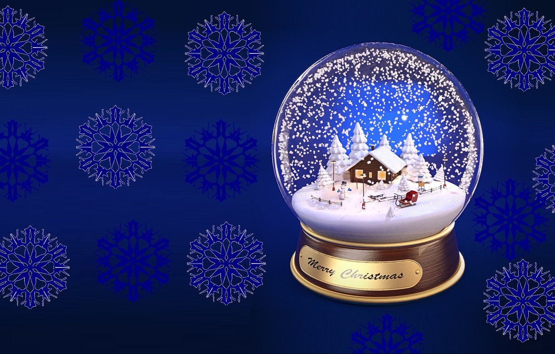 Photo wallpaper snowflakes, holiday, gift, new year, minimalism, art, snow globe