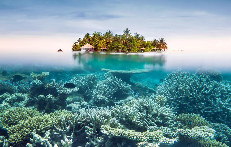 Photo wallpaper the sky, the ocean, island, resort, under water, split