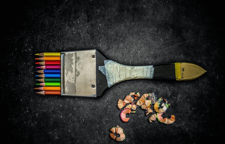 Photo wallpaper pencils, brush, chips, Creative edit