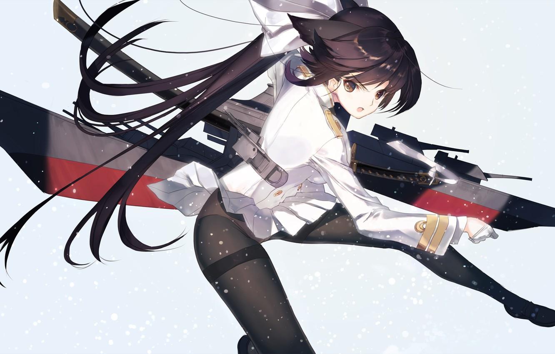 Photo wallpaper Girl, Weapons, Anime, Brunette, Art, Azur Lane
