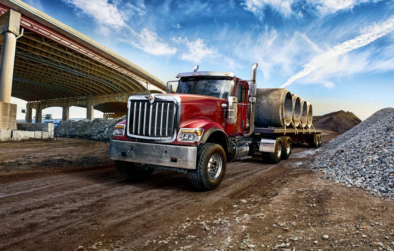 Photo wallpaper bridge, truck, International, machinery, international