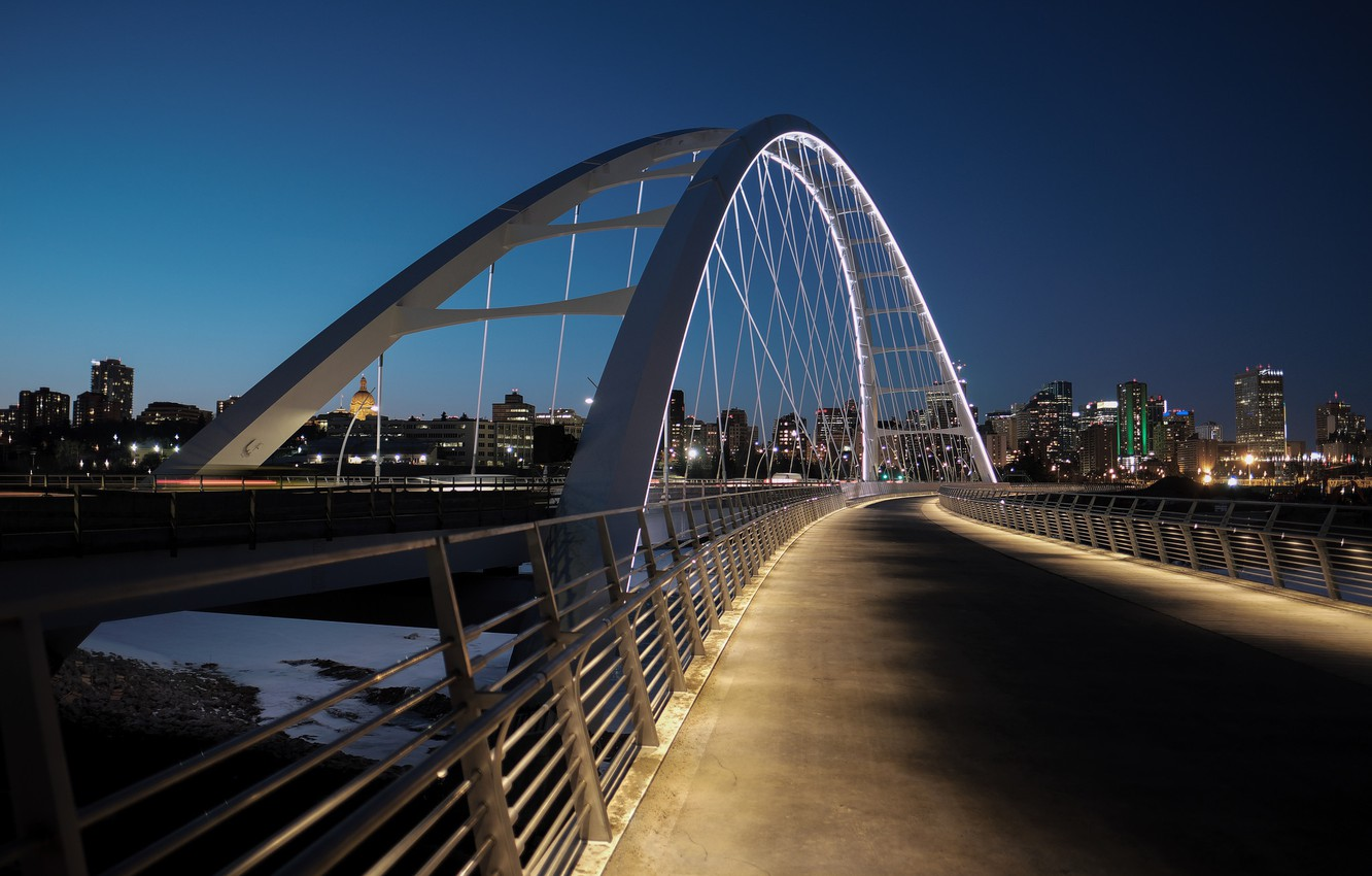 Photo wallpaper bridge, lights, backlight, Canada, Edmonton, Edmonton