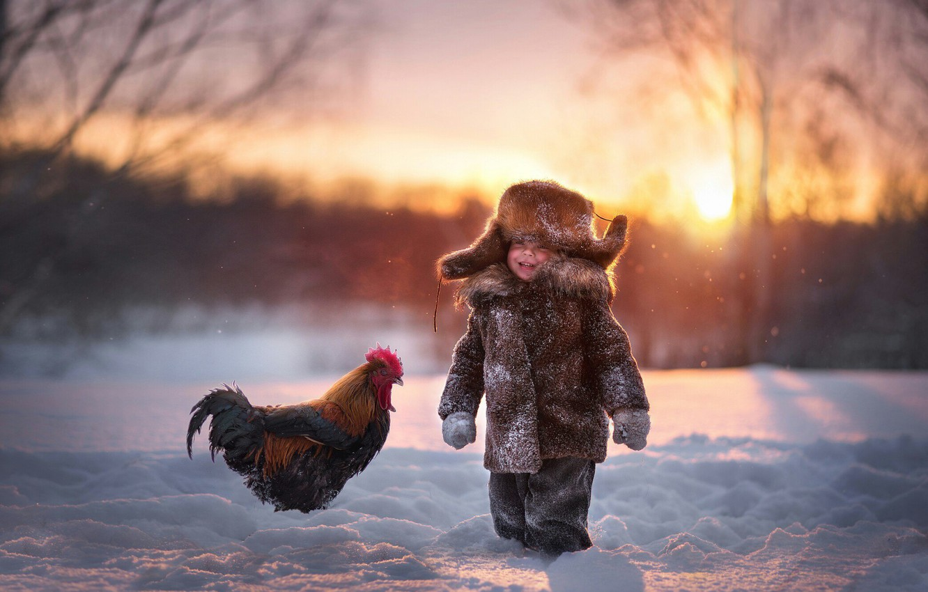 Photo wallpaper winter, snow, joy, hat, boy, cock