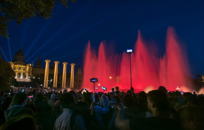 Photo wallpaper night, lights, fountain, Spain, Barcelona