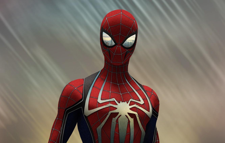 Photo wallpaper Figure, The game, Costume, Hero, Mask, Superhero, Hero, Marvel, Spider-man, Game, Comics, Spider-Man, Peter Parker, …