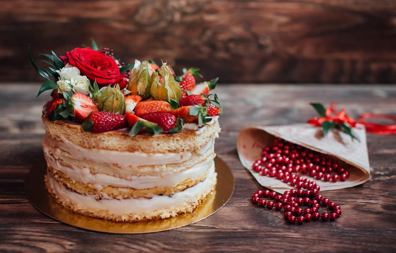 Photo wallpaper berries, cake, cake, dessert, dessert, berries