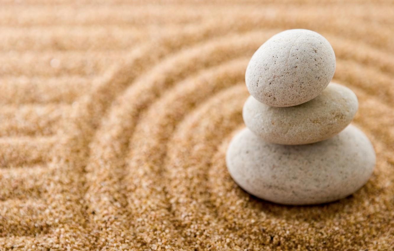 Photo wallpaper sand, stones, stone, sand, zen