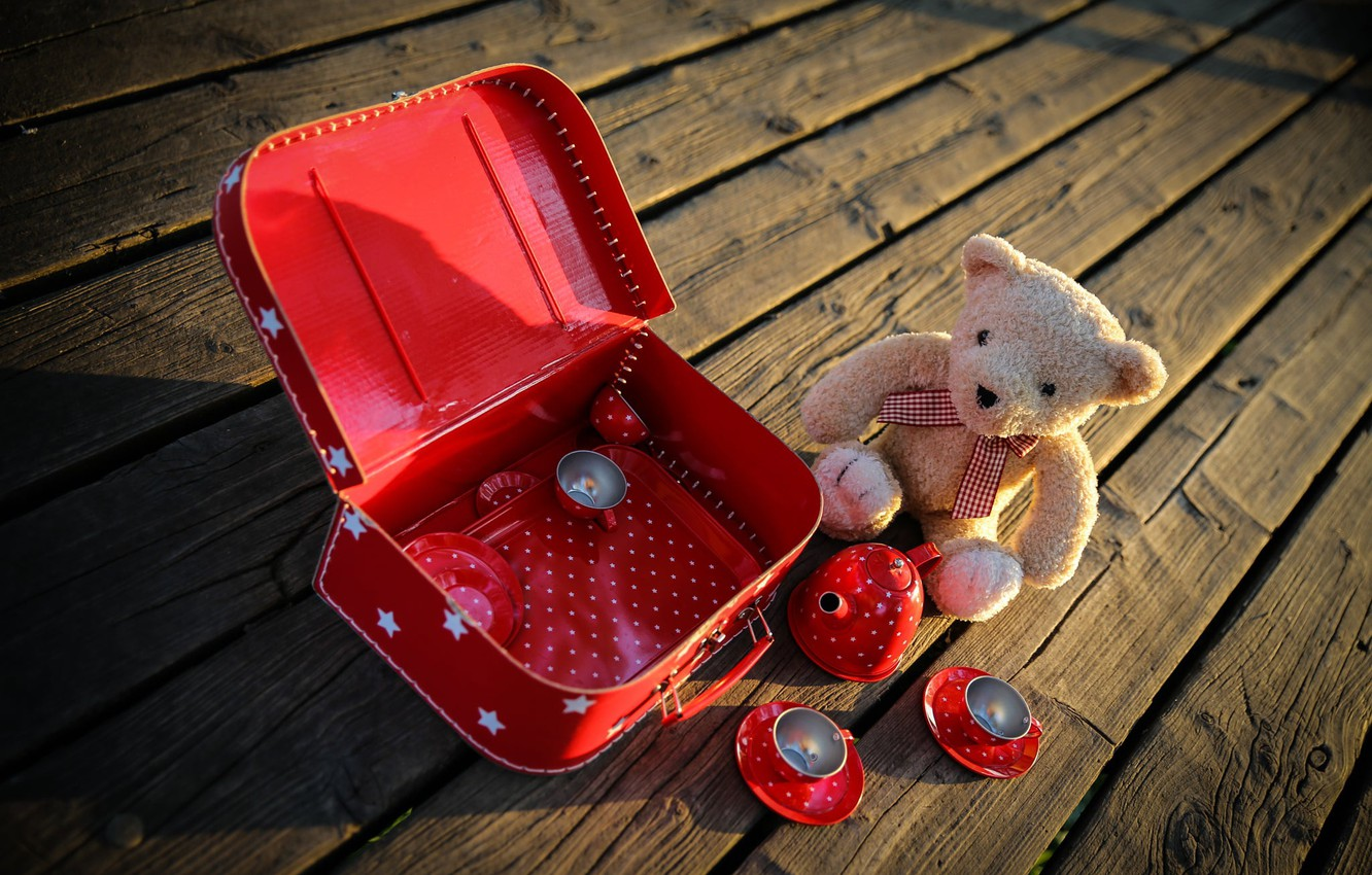 Photo wallpaper the game, toys, Board, bear, dishes, suitcase, plush
