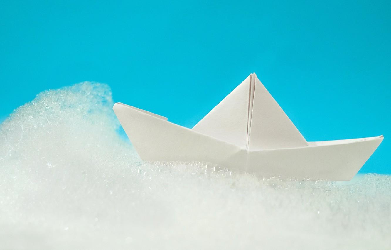 Photo wallpaper foam, boat, origami