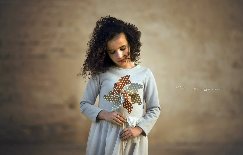 Photo wallpaper background, windmill, girl