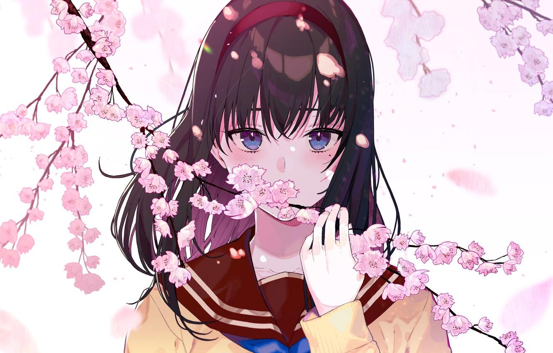 Photo wallpaper look, girl, flowers, art, kayahara