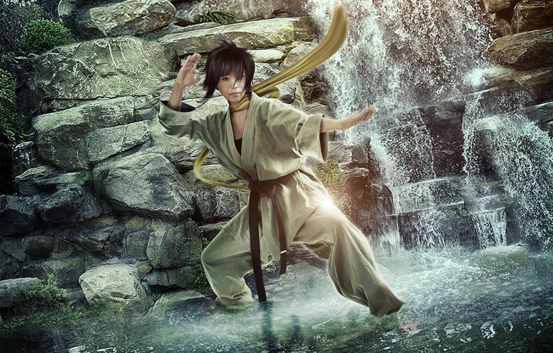 Photo wallpaper waterfall, Street Fighter, Makoto, BossLogic, karateka, Hyper Real