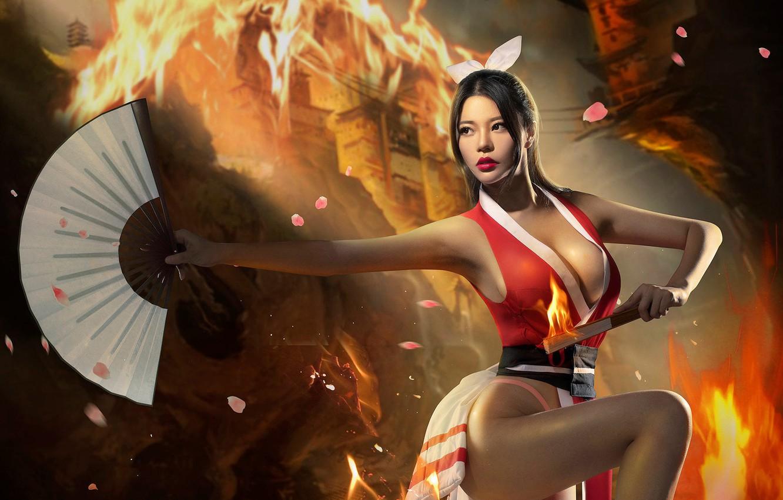 Photo wallpaper chest, fire, fan, legs, Don't fire dance bis