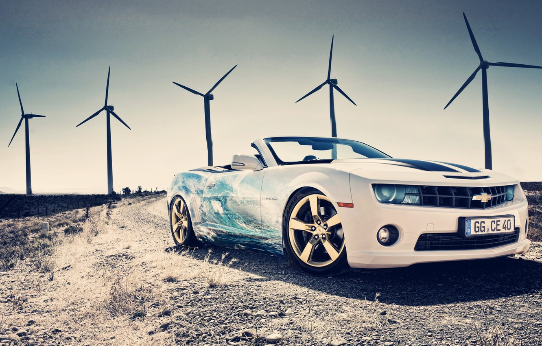 Photo wallpaper Chevrolet, Camaro, White, Aerography