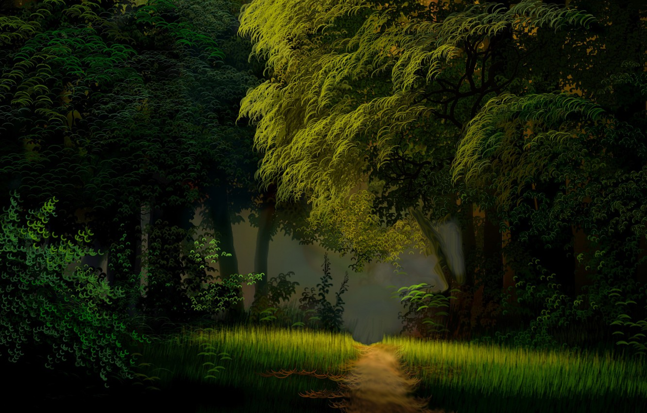 Photo wallpaper summer, grass, trees, glade, foliage, shadow, the edge of the forest, fog in the morning, …