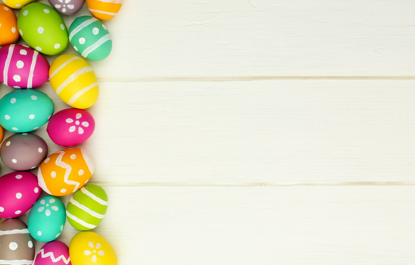 Photo wallpaper colorful, Easter, happy, wood, spring, Easter, eggs, holiday, the painted eggs