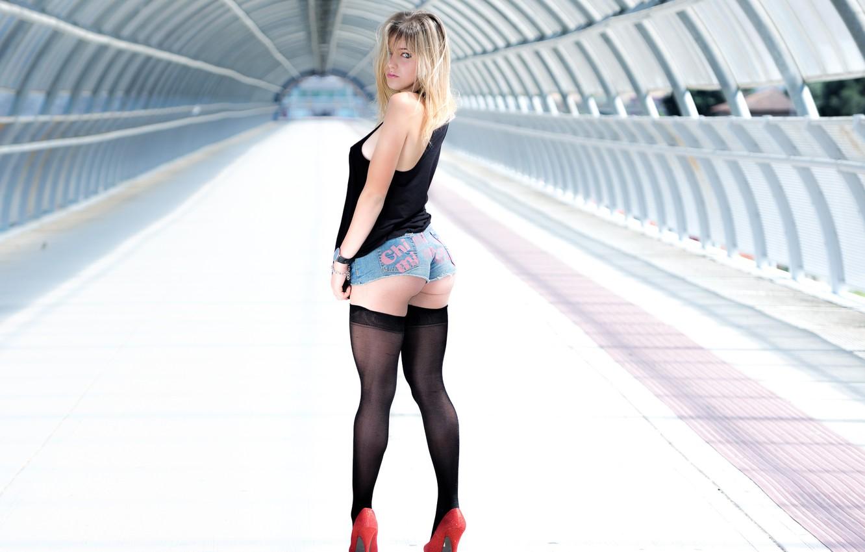 Photo wallpaper ass, ass, girl, pose, stockings, figure, shoes, shorts, red shoes, Mauro Saranga