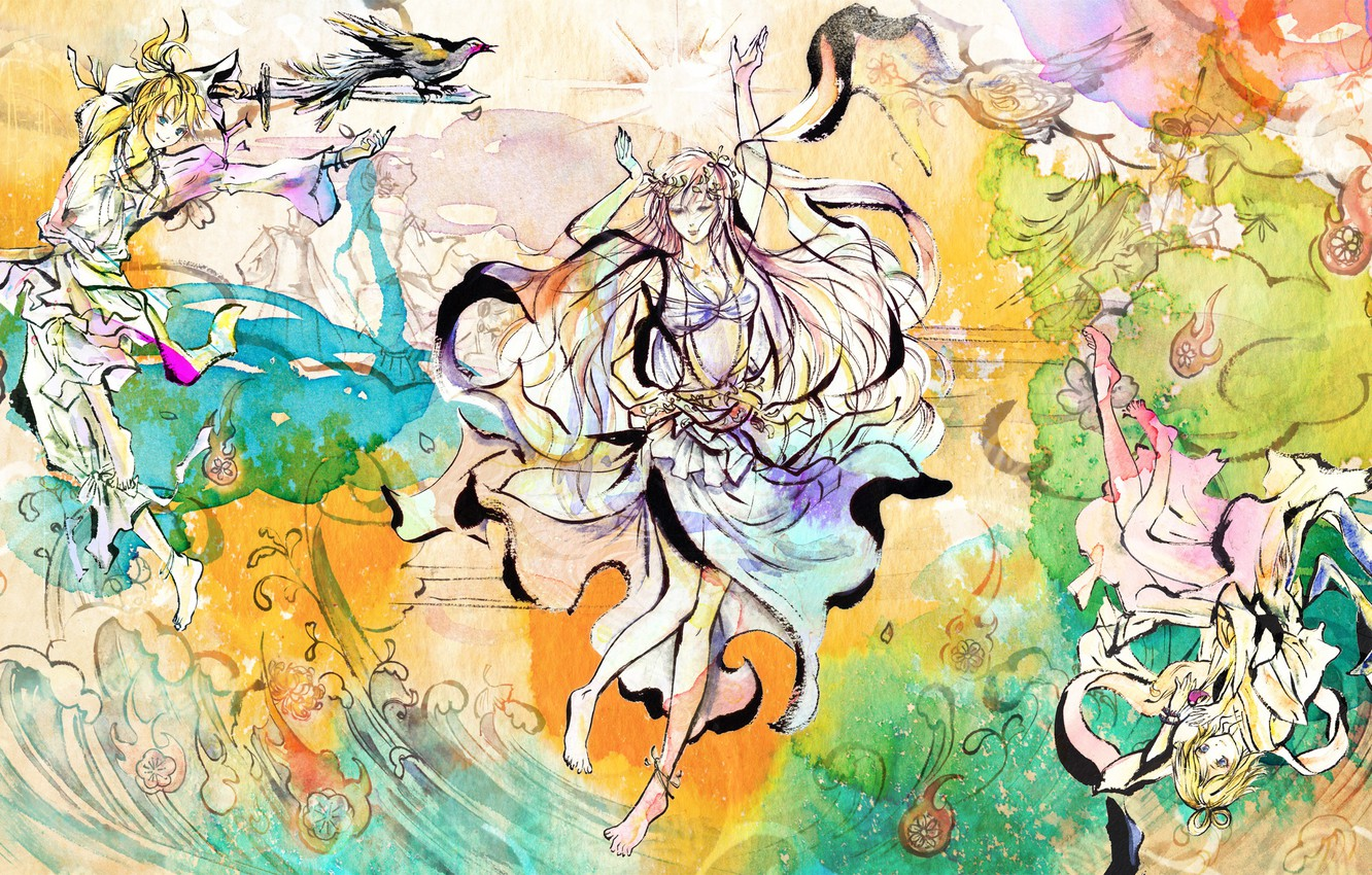 Photo wallpaper style, figure, anime, art, Vocaloid, Vocaloid, characters