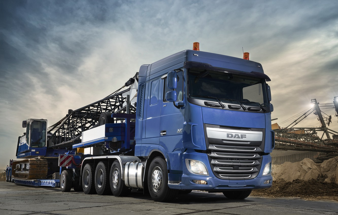 Photo wallpaper blue, DAF, tractor, DAF, Space Cab, 2017, machinery, the trailer, 8x4, Euro6, DAF XF 510 …