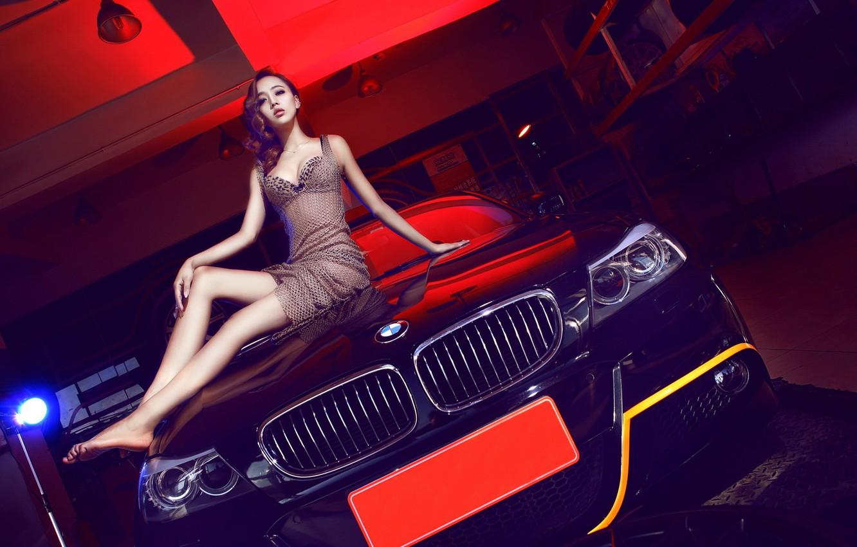 Photo wallpaper look, Girls, BMW, Asian, beautiful girl, black car, sitting on the hood