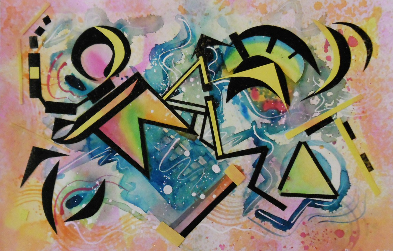 Photo wallpaper blue, yellow, pink, black, triangles, oil, Figure, markers, gouache, Watercolor, acrylic, gel, pastel., Lena Horn