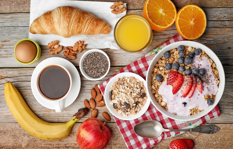Photo wallpaper berries, coffee, orange, Breakfast, fruit, nuts, croissant, muesli