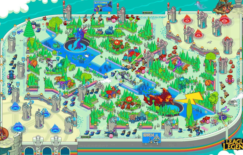 Photo wallpaper The game, Retro, Map, Art, Pixels, League of Legends, Characters, PXL