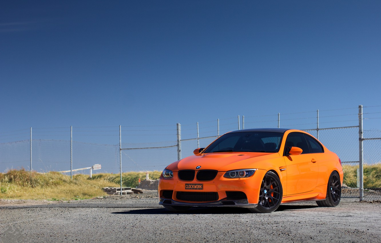 Photo wallpaper the sky, orange, BMW, the fence, BMW, orange, e92